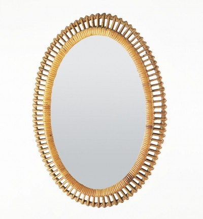Oval mirror in wicker, 1950s