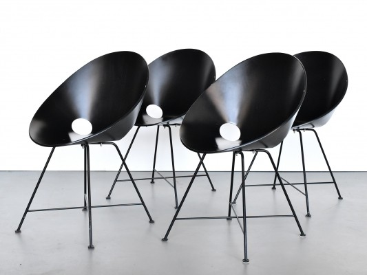 Set of 4 S664 dining chairs by Eddie Harlis for Thonet, 1980s