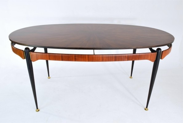 Italian Vintage Oval Rosewood Dining Table, 1950's