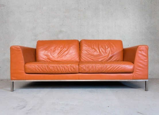 Orange Leather & Chrome Sofa by Natuzzi / Italsofa