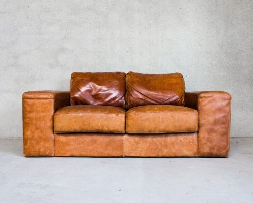 Patinated Leather Sofa for Two