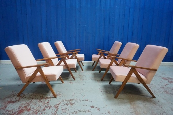 6 x Mid Century Lounge Chair in Champagne Pink Velvet