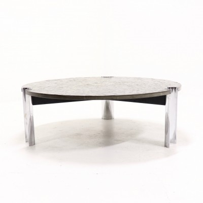 Mid Century Fossil Limestone & Chrome Coffee table, 1970s