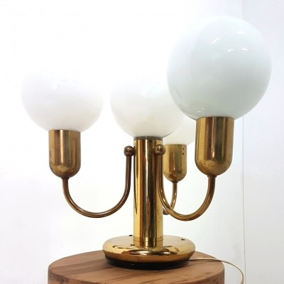 Brass table lamp with 4 opaline glass globes by Solken Leuchten, Germany 1970s