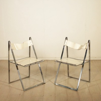 Pair of 'Elios' Folding Chairs by Colle D'Elsa, 1970s