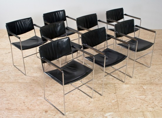 Set of 8 Leather & chromed dining room chairs, 1970s