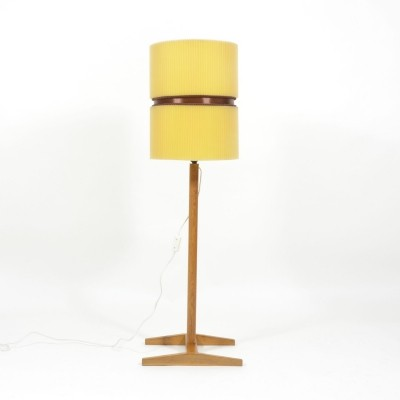 1970s Vintage Floor Lamp With Oak Wood Base And Crimped Lampshade