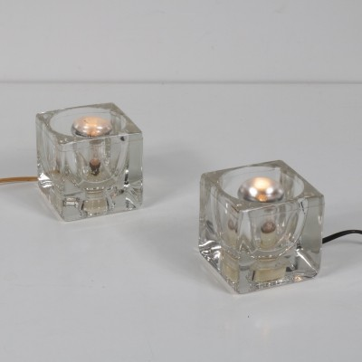 Pair of Cube glass table lamps by Putzler, 1960s