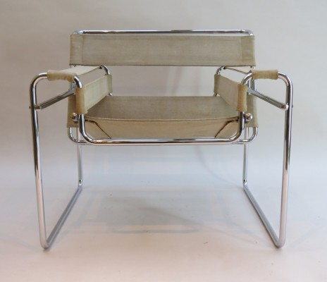 Vintage B3 Wassily Chair in canvas by Marcel Breuer for Gavina, 1960s