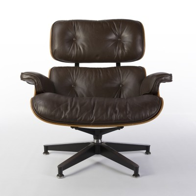 Brown leather & Rosewood Eames Lounge Chair by Herman Miller, 1980s