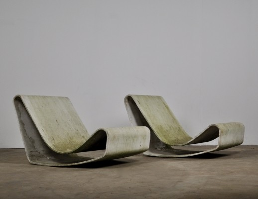 Set of 2 loop lounge chairs by Willy Guhl for Eternit SA, 1950s