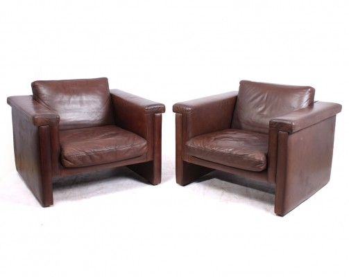 A Pair of Danish Leather Armchairs