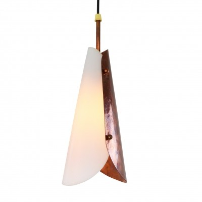 Sophisticated pendant light made of acrylic & hammered copper, 1950s