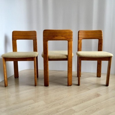 Ser of 3 Mid-Century German Striped Oak LÜBKE Chairs, 1960s