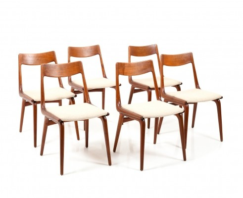 Set of 6 Boomerang Teak Chairs by Alfred Christensen, early 1960s