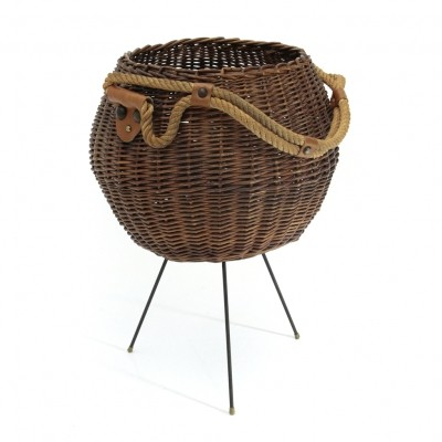 Italian wicker basket with rope handle, 1950s