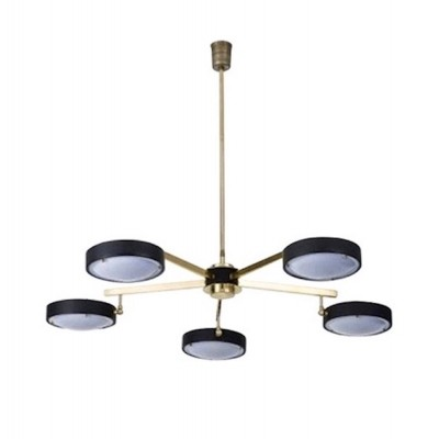 Brass & Colored Plexiglas Ceiling Lamp by G.C.M.E, Italy