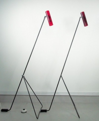 Pair of Red Perspex & Black Steel Floor Lamps by Bergbom Scanlight AB
