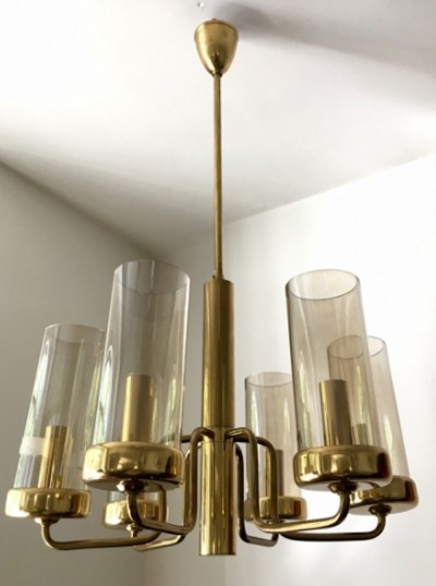 Brass ceiling lamp with six lights