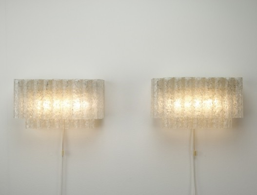 Pair of large ice glass wall lamps by Doria Leuchten, 1960s
