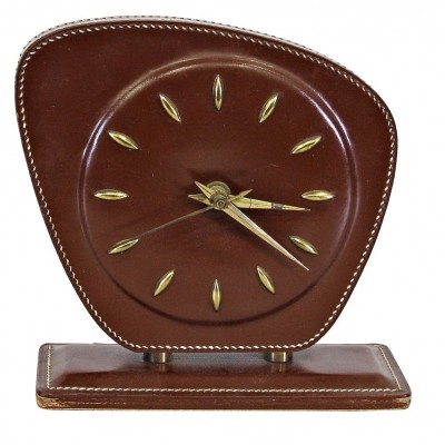 1950s Jacques Adnet Leather Table Clock