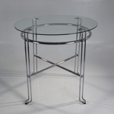 Pair of French Vintage Cromed Steel Side Tables, France 1970's