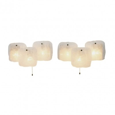 Pair of Kalmar Ice Glass Wall Sconces, Austria 1960