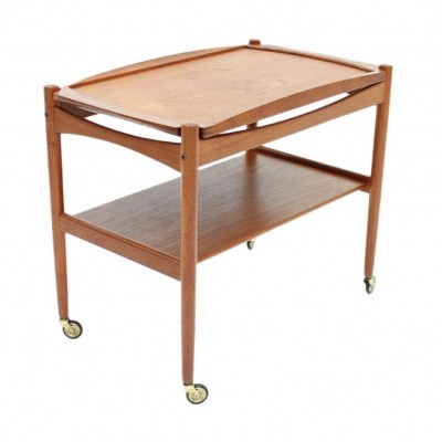 Poul Hundevad Trolley in Teak Wood with Tray, Denmark 1960s