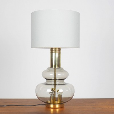 Doria smoked glass & brass table lamp, 1960's