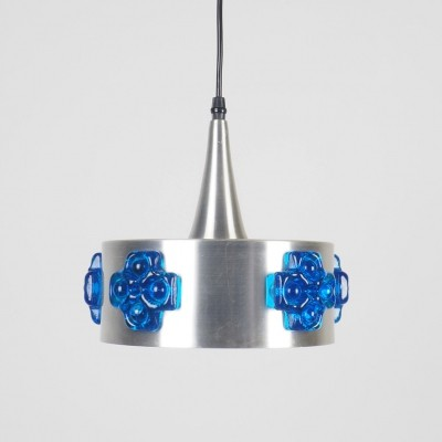 Brushed aluminium hanging light with blue crystal stones, 1960's