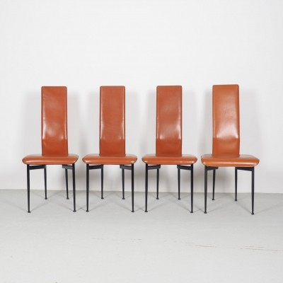 Cognac red leather Fasem 'S44' dinner chairs by Giancarlo Vegni & Gianfranco Gualtierotti, 1990's