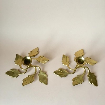 Pair of Vintage Swedish Brass Leaves Candle Holders, 1970s