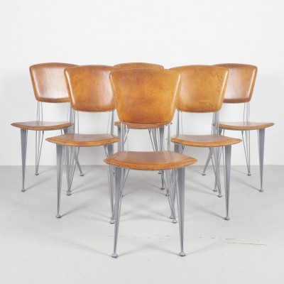 Leather & metal vintage dinner chairs by Fasem, 1990's