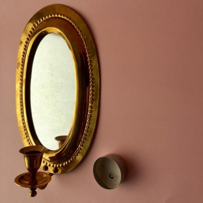 Mid-Century Swedish Brass Wall Mirror with Candle Holder