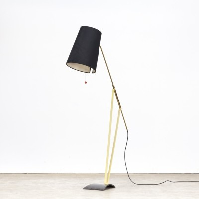 Hans Bergström floorlamp with adjustable fabric shade for Ateljé Lyktan, 1950s
