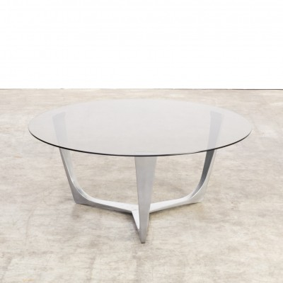 Full aluminium frame coffee table with smoked glass tabletop, 1980s