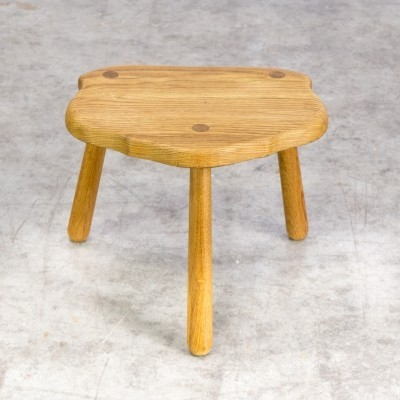 70s Smoked oak wooden stool