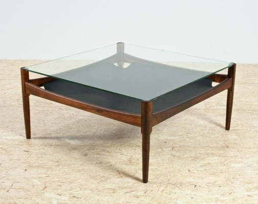 Rosewood, leather & glass coffee table by Kristian Vedel, 1960s