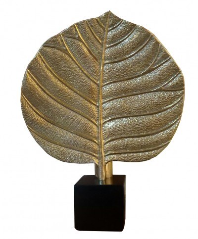 Rhubarb leaf brass table lamp, 1970s