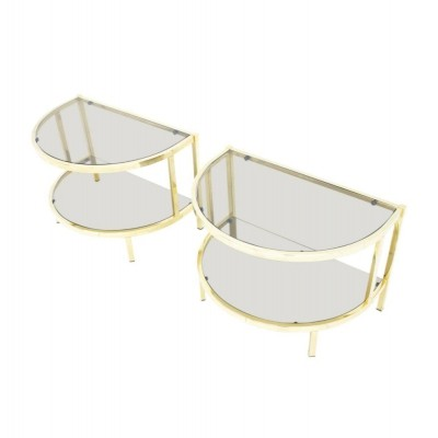 Pair of Brass & Glass Bed Side Tables, 1970s