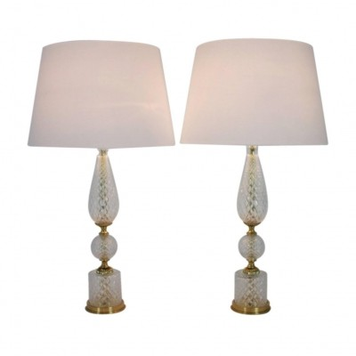 Pair of Textured Glass & Brass Table Lamps, 1960s