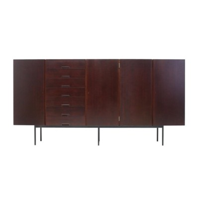 Mahogany Highboard with Metal Legs, 1960s