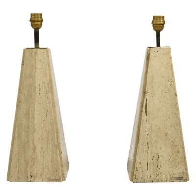 Camille Breesch pair of travertine & brass table lamps