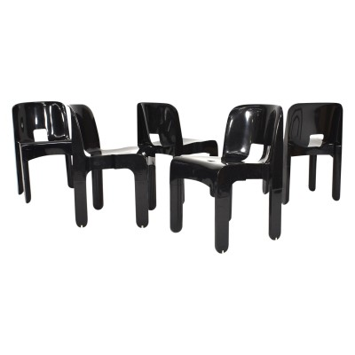 Set of 5 Joe Colombo 'Universale' plastic chairs by Kartell, Italy 1967