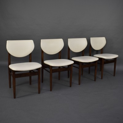 Set of 4 wengé dining chairs, circa 1950-60s