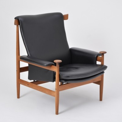 Black leather Bwana Model 152 Lounge Chair by Finn Juhl for France & Son
