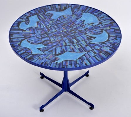 Tall Blue Italian Mid-Century Dining Table with Enameled Copper Top, 1950s
