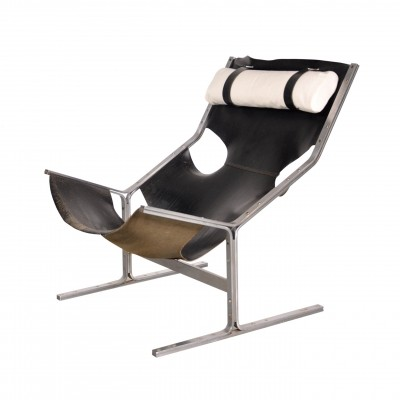 1960s Leather Lounge Chair by Polak Netherlands