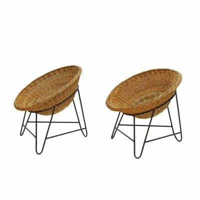 Set of Two French Wicker Chairs, circa 1950s