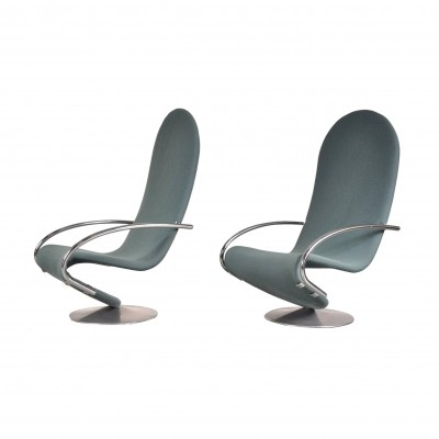 Set of Two Verner Panton 1-2-3 Easy Chairs, 1970s